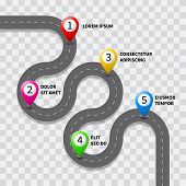 Vector pathway road map with route pin icon on the way track. Roadmap template design on transparent background poster