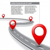 Road map vector with street pathway route pin icon on the way track. Vector roadmap template design on white background. poster