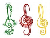 Various Music Styles Reggae, Pop, Jazz. Vector design violin clef poster
