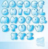 Funny Cartoon shine icy font - letter from A to Z, vector clip art for your christmas design or text poster