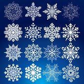 Decorative vector Snowflakes set - winter series clip-art poster