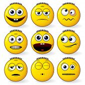 Emoticon - set of cool yellow smileys expressions - detailed vector poster