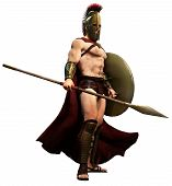 Spartan warrior with shield and spear 3D illustration poster