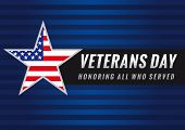 Lettering Veterans Day and Honoring all who served banner, USA flag on background in star. Veterans day USA star banner poster