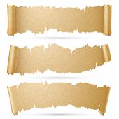 Scroll paper banners vector set. Old ragged roll old parchment illustration poster
