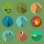 This is a set of garden tools in the form of flat icons. Lawn mower, hedge trimmers, shovel, pruning shears, seedlings, watering can, secateur, watering sprinkler ,wheelbarrow. poster