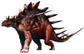 Kentrosaurus from the Jurassic era 3D illustration poster