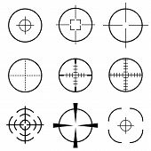 Set of black crosshair scope target icon poster