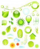 Raster. Set of environmental icons poster