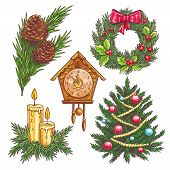 Vector hand drawn christmas decorative elements. Christmas wreath, pine branches, Christmas tree, clock chimes, candles in sketch style. poster