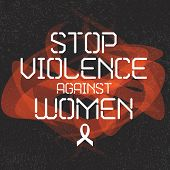 International day for the elimination of violence against women. White Ribbon Campaign poster. Stop violence against women inscription sign. Women's rights concept. Isolated vector illustration. poster