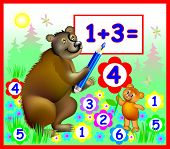 Illustration of bears learning count numbers, vector cartoon image for schoolbook. poster