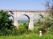 Railway bridge viaduct in the Luhansk region of Ukraine. poster