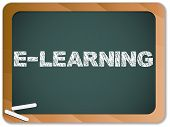 Vector - Blackboard with E-learning Message written with Chalk poster