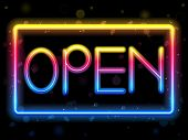 Vector - Open Neon Sign Rainbow Color poster