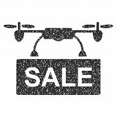 Drone Sale grainy textured icon for overlay watermark stamps. Flat symbol with scratched texture. Dotted vector gray ink rubber seal stamp with grunge design on a white background. poster