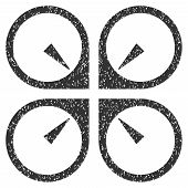 Hover Drone grainy textured icon for overlay watermark stamps. Flat symbol with dust texture. Dotted vector gray ink rubber seal stamp with grunge design on a white background. poster