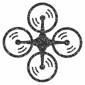Quadcopter Screw Rotation grainy textured icon for overlay watermark stamps. Flat symbol with dust texture. Dotted vector gray ink rubber seal stamp with grunge design on a white background. poster