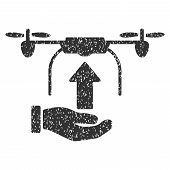 Send Drone Hand grainy textured icon for overlay watermark stamps. Flat symbol with scratched texture. Dotted vector gray ink rubber seal stamp with grunge design on a white background. poster