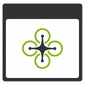 Air Copter Calendar Page glyph pictogram. Style is flat graphic bicolor symbol eco green and gray colors white background. poster