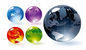Color glossy globes. Vector. poster