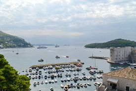 Nice view of Dubrovnik harbour with different ship (Croatia).