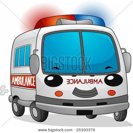 Illustration of a Happy Ambulance with its Siren Blaring
