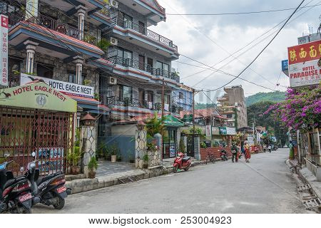 On Pokhara Street On A Cloudy Day On April 11, 2018 Pokhara, Nepal.