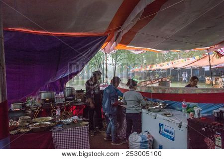 The Kitchen Is Under Canopy In Heavy Rain In The Park On April 11, 2018 Pokhara, Nepal.