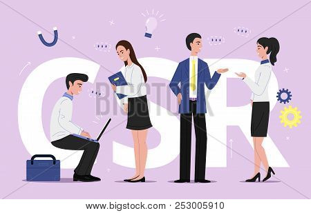 Scr Corporate Social Responsibility Vector Illustration Of Business Sustainability Management. Compa