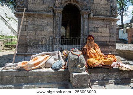 Two Sadhus In The Pashupatinath Temple 13 April 2018, Kathmandu, Nepal.