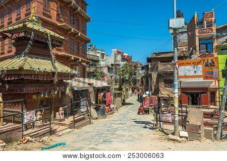 On The Narrow Streets Of The Capital On April 13, 2018, Kathmandu, Nepal.