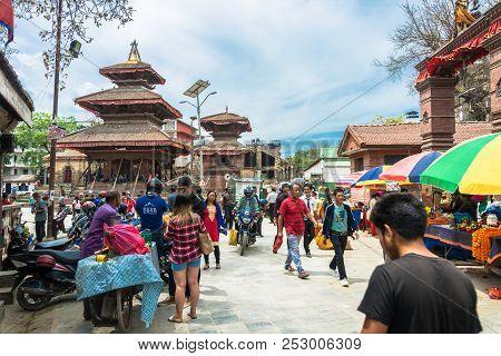 Kathmandu, Nepal-14.04.2018: On The Narrow Streets Of The Capital, 14 April 2018 Kathmandu, Nepal.