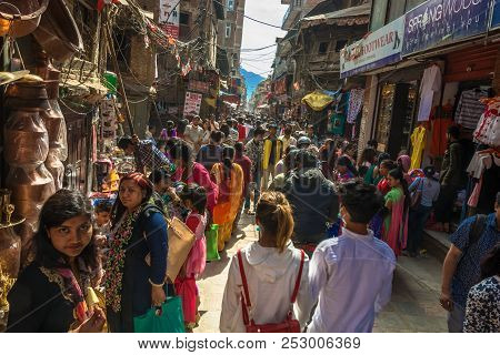 On The Narrow Streets Of The Capital On April 14, 2018, Kathmandu, Nepal.