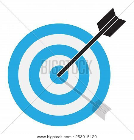 The Arrow Hits The Target. Target Icon On White Background. Flat Style. Blue Target Icon For Your We