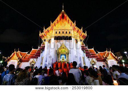 Bangkok, Thailand - May 29, 2018: Buddhism Join The Candle Light Procession Around The Uposatha At W