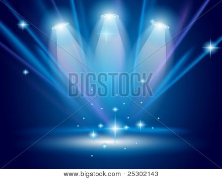 Magic Spotlights with Blue rays and glowing effect for people or product advertising.