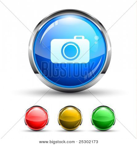 Camera Cristal Glossy Button with light reflection and Cromed ring. 4 Colors included.