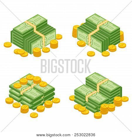 Objects Isolated On A White Background.various Money Bills Dollar Cash Paper Bank Notes And Gold Coi