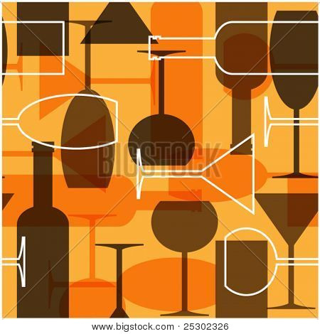 art seamless background  wine bottles glasses