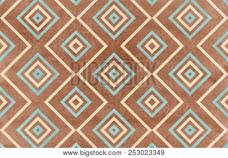 Watercolor Geometrical Pattern In Blue, Beige And Brown Color. For Fashion Textile, Cloth, Backgroun