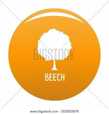 Beech Tree Icon. Simple Illustration Of Beech Tree Vector Icon For Any Design Orange