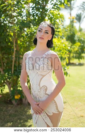 Look Concept. Woman With Glamour Look In Wedding Dress. Look Your Best. For That Feminine Look You A