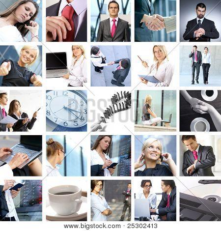 Unternehmen-Collage von Bildern Geschäft gemacht. Es illustriert hat Marketing, Immobilien, techno