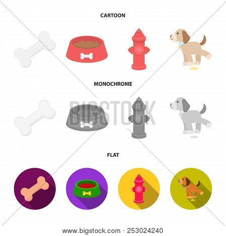 A Bone, A Fire Hydrant, A Bowl Of Food, A Pissing Dog.dog Set Collection Icons In Cartoon, Flat, Mon
