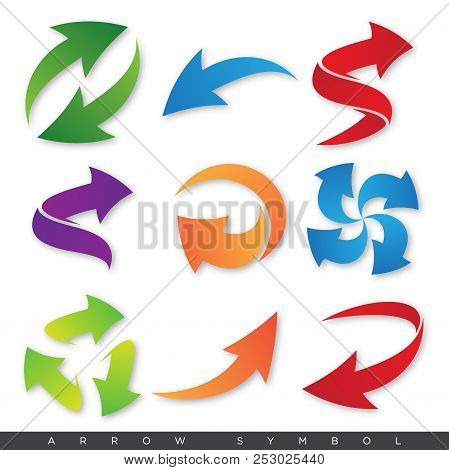 Set Colorful Vector Arrows Elements For Your Design With Shadow. Color Vector Arrow. Vector Illustra