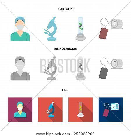 Plant In Vitro, Nurse, Microscope, Tonometer. Medicine Set Collection Icons In Cartoon, Flat, Monoch