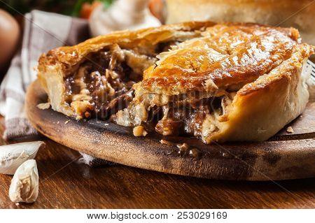 Fresh Beef Stew Pie On A Cutting Board