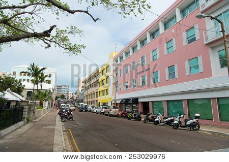 Hamilton, Bermuda - March, 20, 2016: Street Road. City Street Road. Cars And Scooters Parked Along S