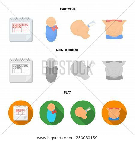 Calendar, Newborn, Stomach Massage, Artificial Feeding. Pregnancy Set Collection Icons In Cartoon, F